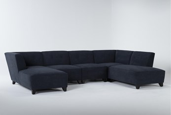 """Benton IV 5 Piece 130"""" Sectional With Right Arm Facing Bumper"""