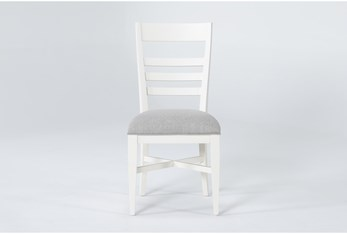 Ozzie White Upholstered Ladderback Dining Side Chair