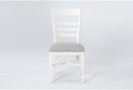 Ozzie White Upholstered Ladderback Dining Side Chair - Main