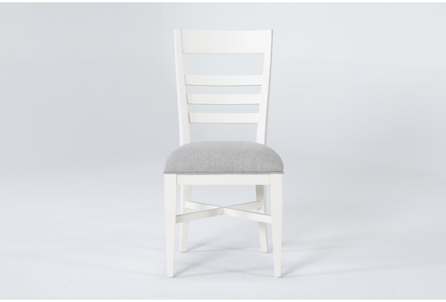 Ozzie White Upholstered Ladderback Dining Side Chair - 360