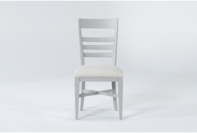 Ozzie Grey Upholstered Ladderback Dining Side Chair - 360