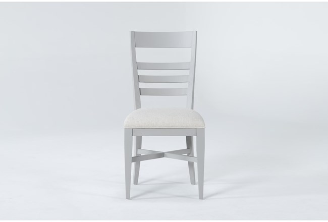 Ozzie Grey Upholstered Laddeback Dining Side Chair - 360