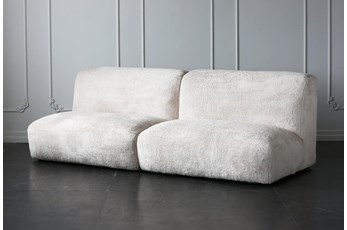 Cream Faux Fur 96 Inch Sofa