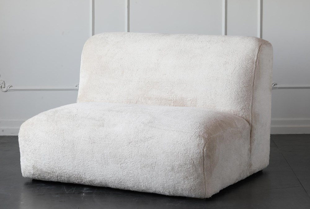 "Cream Faux Fur 48"" Loveseat"