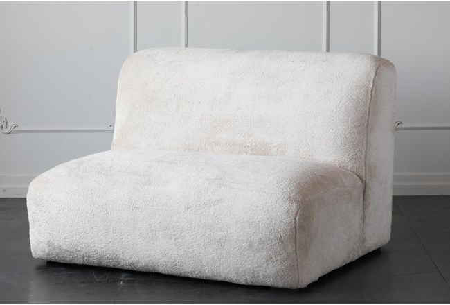 "Cream Faux Fur 48"" Loveseat - 360"