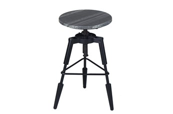 "Black Marble Tripod 19"" Swivel Stool"