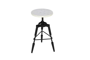 "White Marble Tripod 19"" Swivel Stool"