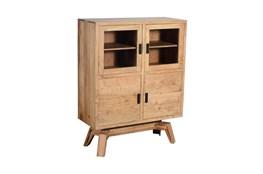 Blonde Wood Glass Door Cabinet