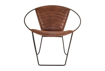 Round Brown Leather Accent Chair