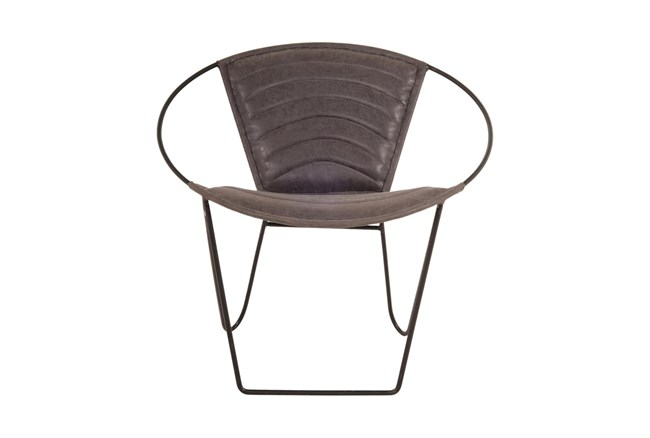 Grey Leather Accent Chair  - 360