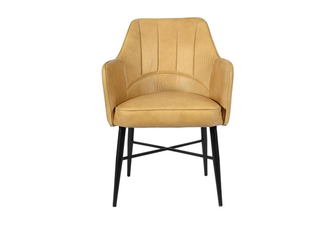 Tan Channel Leather Chair  - 360