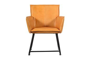 Tan Leather Wing Chair