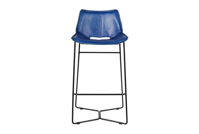 Blue Leather Bar Stool  - 360