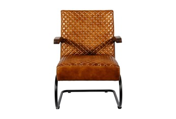 Brown Quilted Cantilever Chair