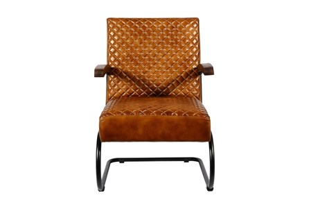 Brown Quilted Cantilever Chair - Main