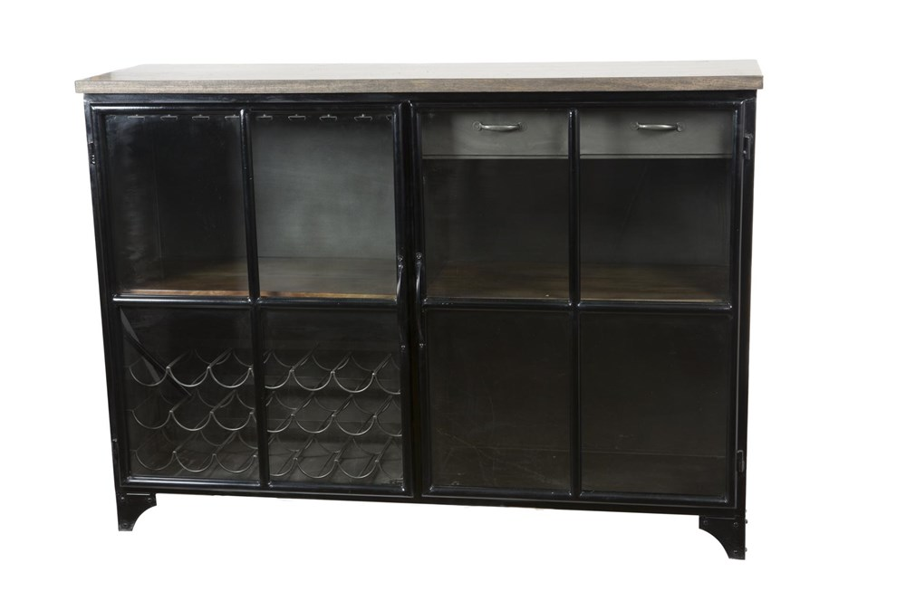 Iron And Wood Bar Cabinet