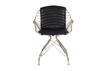 Black Leather Wire Chair