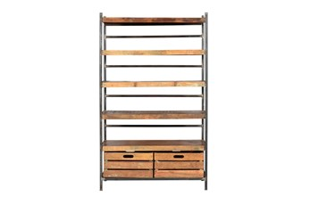 "Tall Iron Wooden 71"" Bookcase"