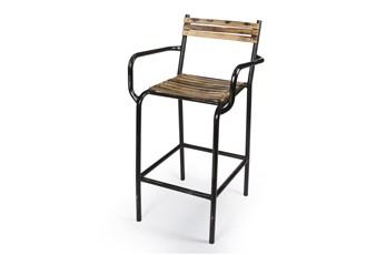 "Iron And Wood Strip 41"" Bar Stool"