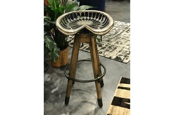 "Iron And Wooden Tractor Seat 34"" Barstool"