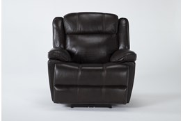 Eckhart Brown Leather Power Recliner With Power Headrest & Usb