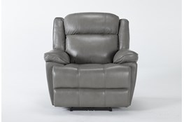 Eckhart Grey Leather Power Recliner With Power Headrest & Usb