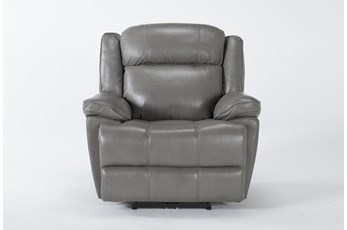Eckhart Grey Leather Power Recliner With Power Headrest & Usb