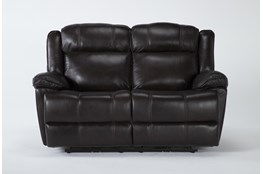 "Eckhart Brown Leather 65"" Power Reclining Loveseat With Power Headrest & Usb"