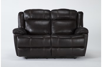 Eckhart Brown Leather Power Reclining Loveseat With Power Headrest & Usb