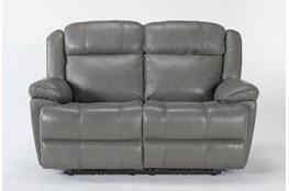 "Eckhart Grey Leather 65"" Power Reclining Loveseat With Power Headrest & Usb"