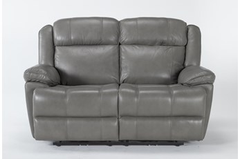 Eckhart Grey Leather Power Reclining Loveseat With Power Headrest & Usb