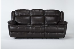 """Eckhart Brown Leather 86"""" Power Reclining Sofa With Power Headrest & Usb"""