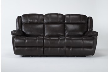 "Eckhart Brown Leather 86"" Power Reclining Sofa With Power Headrest & Usb"