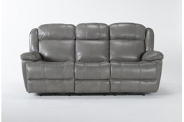 "Eckhart Grey Leather 86"" Power Reclining Sofa With Power Headrest & Usb"