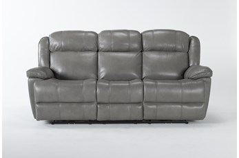 Eckhart Grey Leather Power Reclining Sofa With Power Headrest & Usb