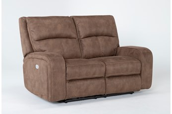 "Palmer Brown 63"" Power Reclining Loveseat With Power Headrest & Usb"
