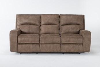 "Palmer Brown 85"" Power Reclining Sofa With Power Headrest & Usb"