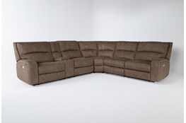 Palmer Brown 6 Piece Power Reclining Sectional With Power Headrest & Usb