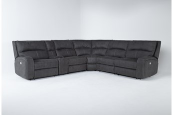 Palmer Grey 6 Piece Power Reclining Sectional With Power Headrest & Usb