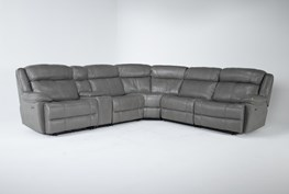 """Eckhart Grey Leather 6 Piece 150"""" Power Reclining Sectional With Power Headrest & Usb"""