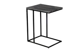Brass Inlay Black Marble Accent Table