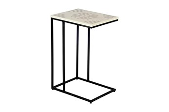 Brass Inlay White Marble Accent Table