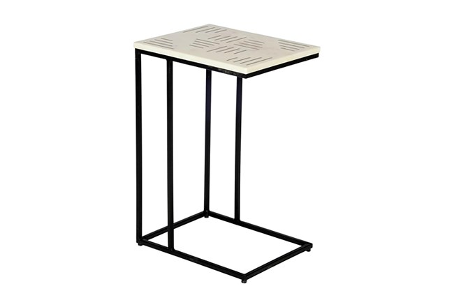 Brass Inlay White Marble Accent Table  - 360