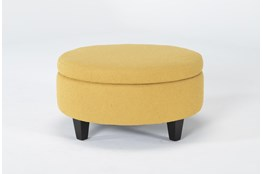 Perch II Fabric Medium Round Storage Ottoman