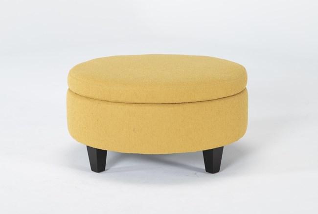 Perch II Fabric Medium Round Storage Ottoman - 360
