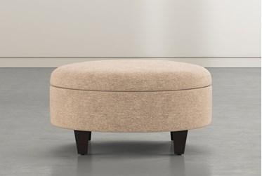 Perch II Beige Fabric Medium Round Storage Ottoman