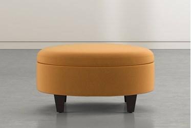 Perch II Rust Fabric Medium Round Storage Ottoman
