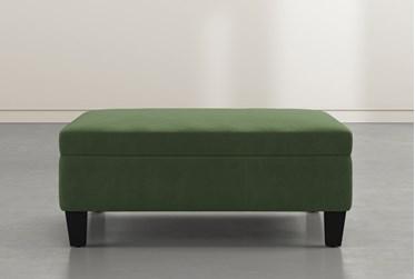 Perch II Hunter Green Fabric Large Square Storage Ottoman