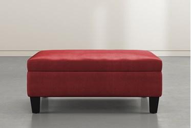 Perch II Ruby Fabric Large Square Storage Ottoman