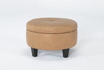 Perch II Leather Small Round Storage Ottoman